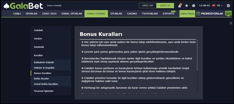 galabet bonus çeşitleri